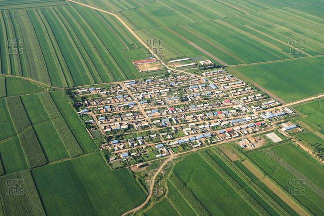 Aerial view of farming town