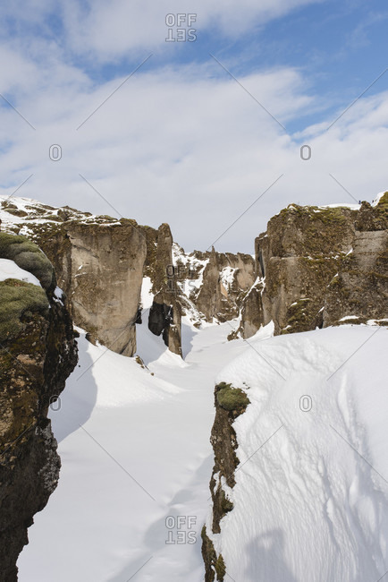 Snow covered Fjadrargljufur gorge in Iceland