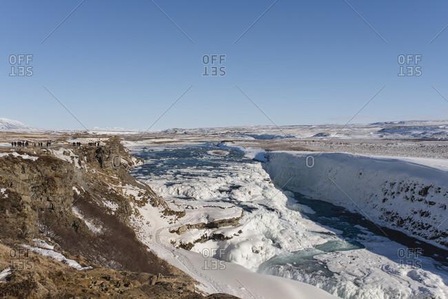 """Wintry waterfall """"Gulfoss Falls"""" in Iceland"""