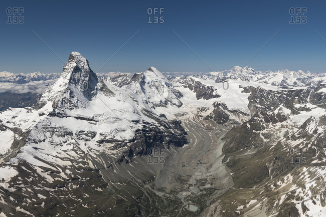 Switzerland, canton of Valais, Valais Alps, Zermatt, Matterhorn with Furgggrat, east wall, Hornligrat and Hornlihutte, north wall, Matterhorn glacier