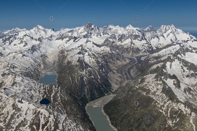 Switzerland, Canton of Bern, Bernese Alps, Bernese Oberland, Grimselsee, Oberaarsee, Oberaargletscher, Unteraargletscher, Aletschhorn, Finsteraarhorn, Fiescherhorner
