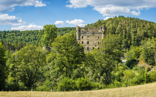 Castle ruins Balduinseck in the Hunsruck near Kastellaun, built by Archbishop Balduin as a stronghold against the Count of Sponheim, hilltop castle on a rock spur with a neck ditch, panorama