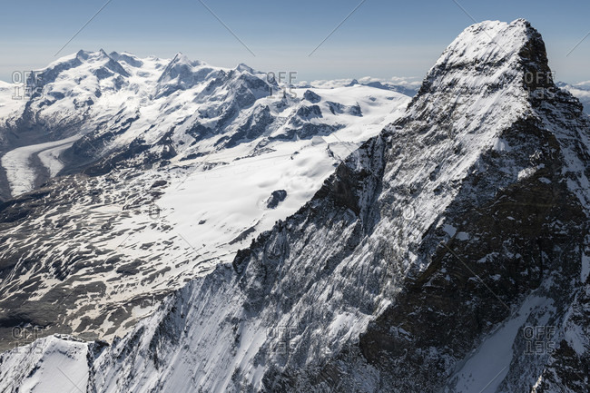 Italy, Piedmont, Switzerland, canton of Valais, Zermatt, Matterhorn north face with Hornligrat and Zmuttgrat, in the background Monte Rosa, Liskamm, Castor, Pollux, Breithorn and Kleinmatterhorn