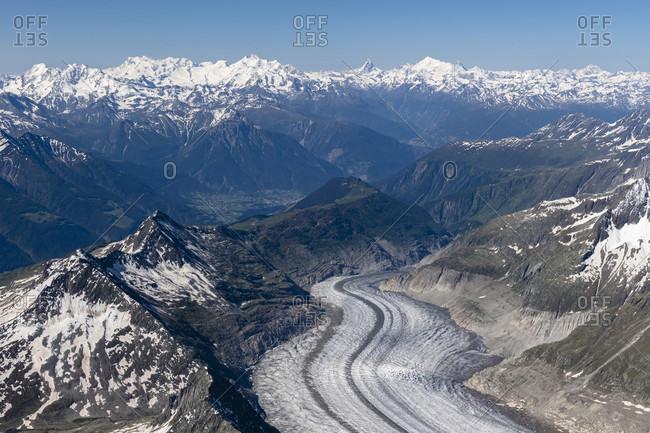 Switzerland, Canton of Bern, Bernese Alps, Bernese Oberland, Aletsch Glacier with a view of the Valais Alps, Monte Rosa, Liskamm, Alphubel, Taschhorn, Dom, Matterhorn, Weisshorn