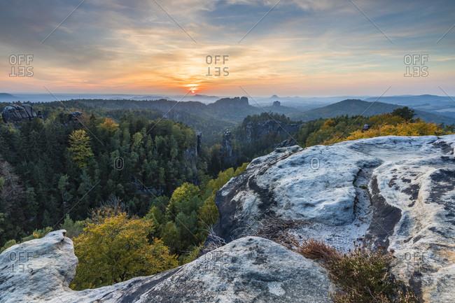 View from Carolafelsen (458m) to the Schrammstones with Falkenstein and Lilienstein in the sunset, Bad Schandau, Elbe Sandstone Mountains, Saxon Switzerland, Saxony, Germany