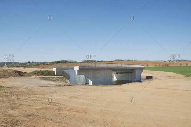 Infrastructure, construction, road construction, land use, symbol, cleared landscape with a lonely bridge without connection, new construction of the B85 in Thuringia