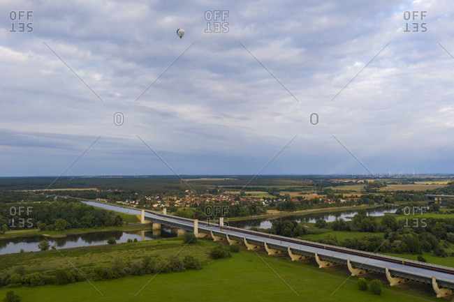 Germany, Saxony-Anhalt, Magdeburg, waterway cross, Mittelland Canal leads in a trough bridge over the Elbe, with 918 meters the largest canal bridge in Europe.