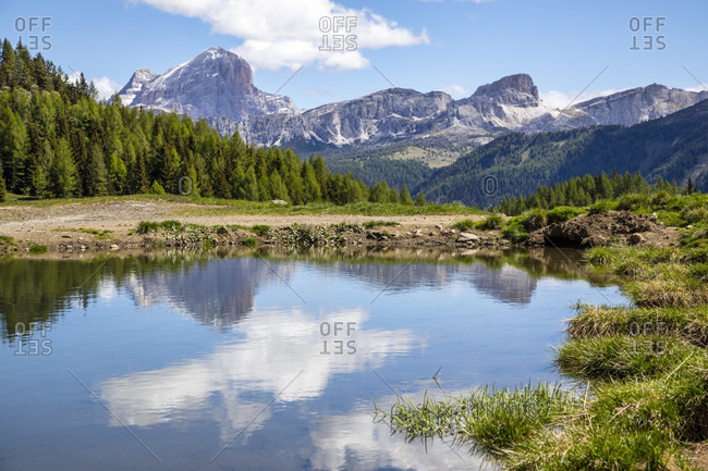 The pasture puddle at Laste alm with tofana of rozes, Averau and Nuvolau in the background, Laste, Rocca Pietore, Agordino, belluno, dolomites, veneto, italy
