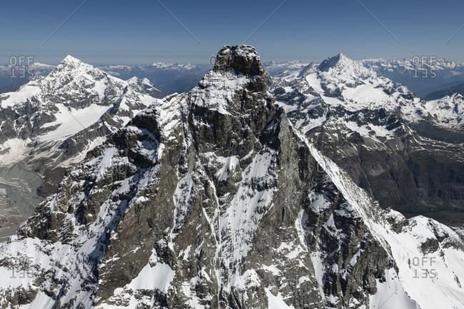 Italy, Piedmont, Switzerland, Canton of Valais, Zermatt, Matterhorn from the south with Liongrat and Furgggrat, Dent Blanche and Weisshorn in the background