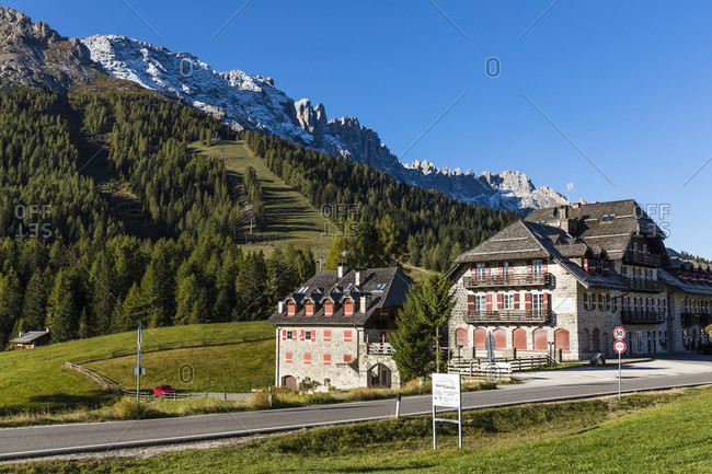 October 4, 2018: Golf hotel with a view of the Latemar (2842m), Karer Pass, Vigo di Fassa, Province of Trento, Alps, Dolomites, Trentino-South Tyrol, Italy