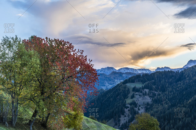 View to the Kreuzkofel massif at sunrise, Muhlental, Campill, St. Martin in Thurn, Gadertal, Bolzano province, Alps, Dolomites, Trentino-South Tyrol, Italy