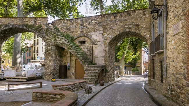 May 28, 2020: La Porte d'Espagne in Ceret in spring. Built in the 13th century. Served as the main entrance to the walled village. Monument Historique.