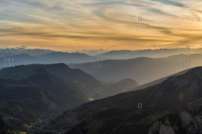 Gardena Pass, Bolzano Province, South Tyrol, Italy. View at sunset from the summit of the Grosser Cirspitze down into the Val Gardena valley