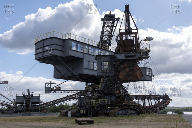 July 7, 2020: Germany, Saxony-Anhalt, Grafenhainichen, old brown coal excavators, open-cast mining technology, Ferropolis, city of iron.