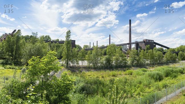 June 11, 2020: Panorama, Ruhr area, industrial complex Zeche Zollverein, Unesco World Heritage, view over the dump to the coking plant