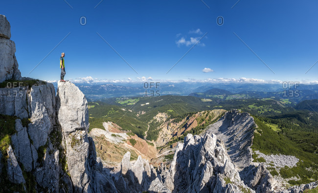 Aldein, Province of Bolzano, South Tyrol, Italy. Geoparc Bletterbach. View from the Aldeiner Weisshorn down to the Bletterbach Gorge