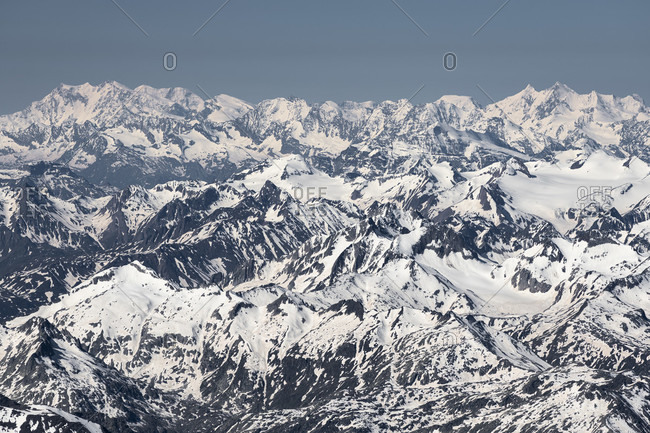 Switzerland, view from the Glarus Alps to the Valais Alps with Monte Rosa, Liskamm, Castor, Breithorn, Taschhorn, Dom, Nadelgrat