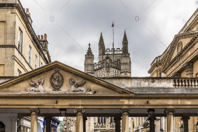 June 19, 2018: View of the Roman Baths and Bath Abbey, Bath, Somerset, England, Great Britain, British Isles, United Kingdom, UK