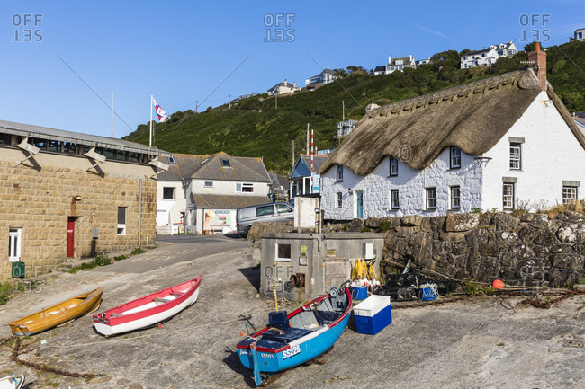 June 26, 2018: Sennen Cove, harbor and houses at Lands End, Cornwall, England, Great Britain, British Isles, United Kingdom, UK