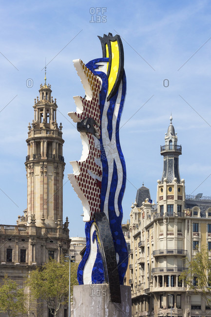 "March 31, 2016: Barcelona, sculpture ""El Cap de Barcelona"", by Roy Lichtenstein, erected on the occasion of the 1992 Olympics"