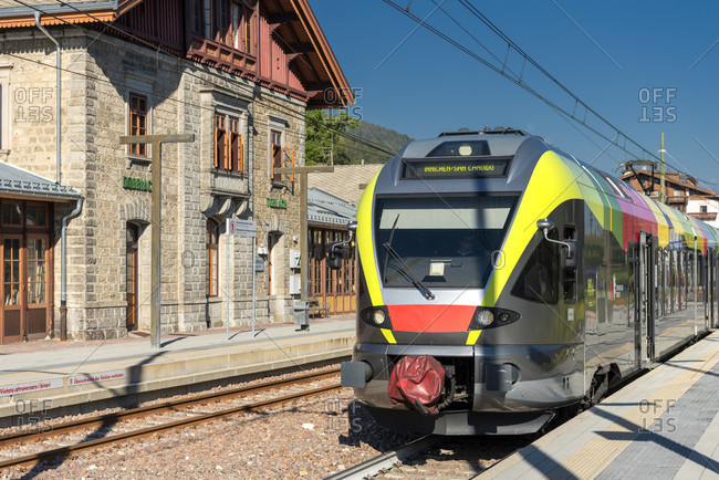 June 13, 2020: Toblach, South Tyrol, Bolzano province, Italy. A flirt train of the Puster Valley Railway in Toblach station