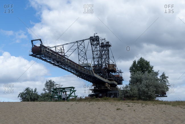 Germany, Saxony-Anhalt, Grafenhainichen, old brown coal excavators, open-cast mining technology, Ferropolis, city of iron.