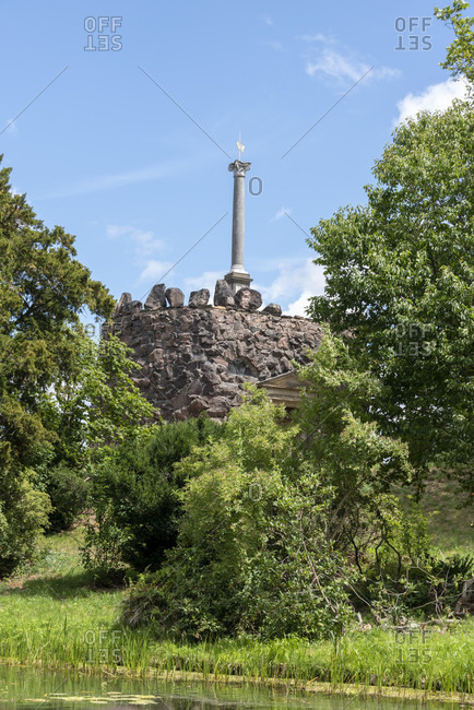 Germany, Saxony-Anhalt, Worlitz, ancient pillar from Pompeii, monument in the Worlitz Garden Realm, Unesco World Heritage.