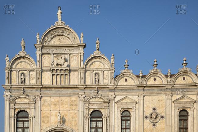 Detail of the Scuola Grande di San Marco building in Campo San Giovanni e Paolo, Sestiere Castello, Venice, Veneto, Italy