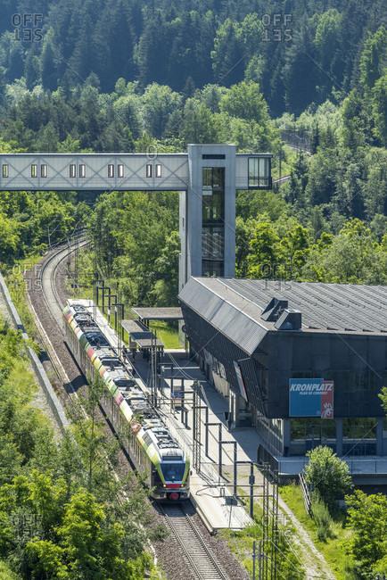June 13, 2020: Percha, South Tyrol, Bolzano province, Italy. A flirt train of the Puster Valley Railway in Percha station