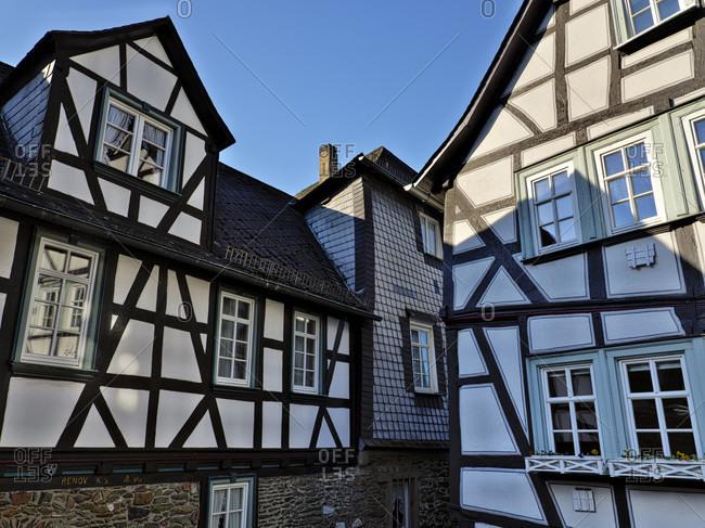 March 24, 2020: Europe, Germany, Hesse, Lahn-Dill-Kreis, Lahn-Dill-Bergland, Wetzlar, half-timbered houses in Rosengasse