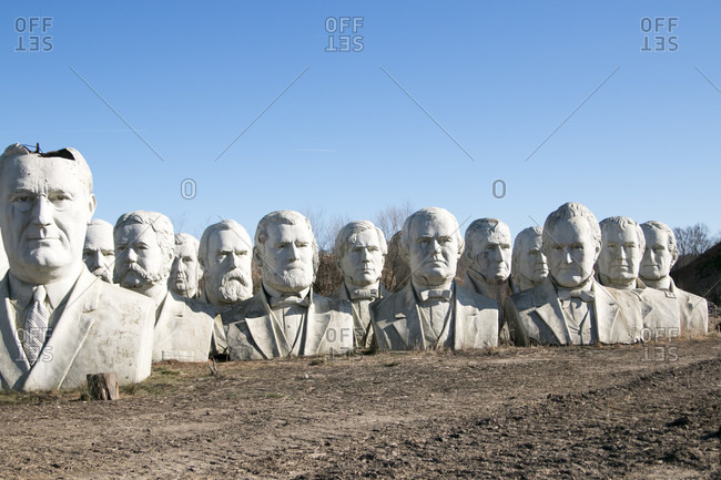 October 26, 2017: United States presidential heads parked out of amusement park - Presidents Heads in Croaker, Virginia