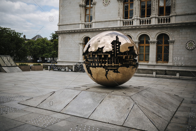 """July 18, 2018: Sculpture """"Sphere Within Sphere"""" by Arnoldo Pomodoro on the grounds of Trinity College, Dublin, Ireland"""