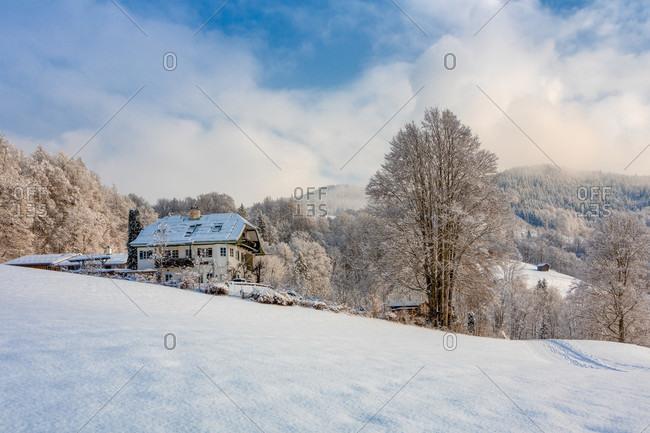 Typical Bavarian architecture, winter glimpse, Ramsau, Berchtesgadener Land district, Upper Bavaria, Bavaria, Germany