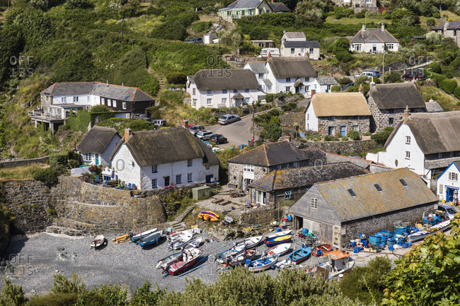 June 27, 2018: Cadgwith Harbor, Lizard Peninsula, Cornwall, England, Great Britain, British Isles, United Kingdom, UK