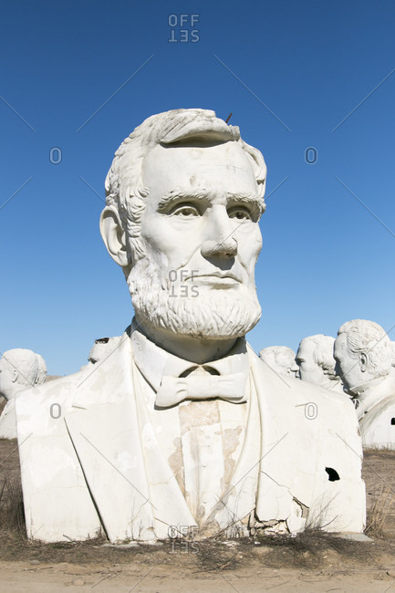 October 26, 2017: USA Presidential Heads from Amusement Park - Presidents Heads in Croaker, Virginia Abraham Lincoln