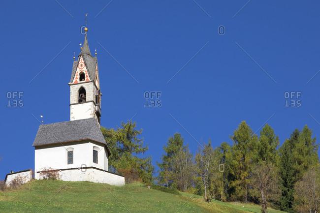St. Barbara chapel, Tolpei, La Valle - Wengen Val Badia - Hocabtei, Dolomites, Bolzano, South Tyrol, Italy, Europe