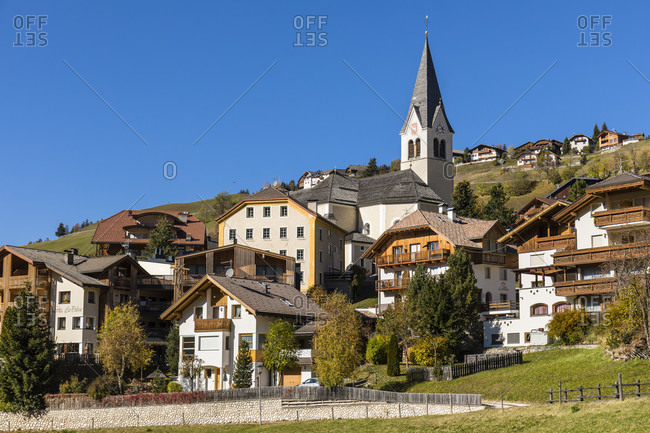 October 21, 2018: View of Wengen with parish church in Val Badia, Bolzano province, Trentino-South Tyrol, Italy