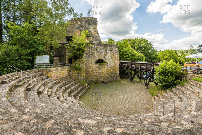 June 21, 2020: Falkenstein Castle in the town of the same name in the Palatinate in the Donnersberg district,