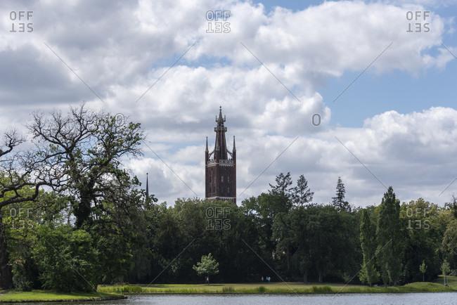 Germany, Saxony-Anhalt, Worlitz, view of the Worlitz Garden Realm with Biblical Tower, Unesco World Heritage.