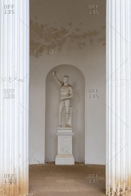 July 11, 2020: Germany, Saxony-Anhalt, Worlitz, pavilion in the Worlitz Garden Realm, Unesco World Heritage.