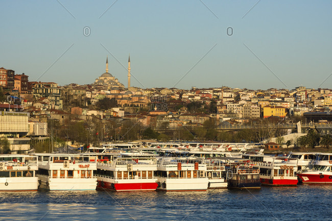 April 10, 2015: Turkey, Istanbul, Bosporus, Karakoy, morning mood, view to the Suleyman mosque, ferry port