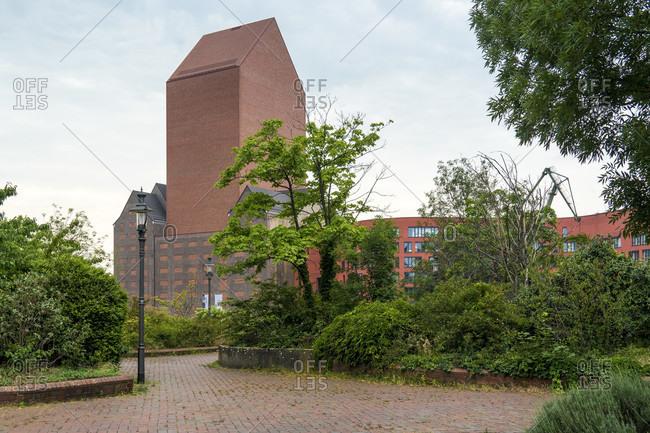 June 11, 2020: Duisburg, inner harbor, office building (formerly Lehnkering granary), monument protection