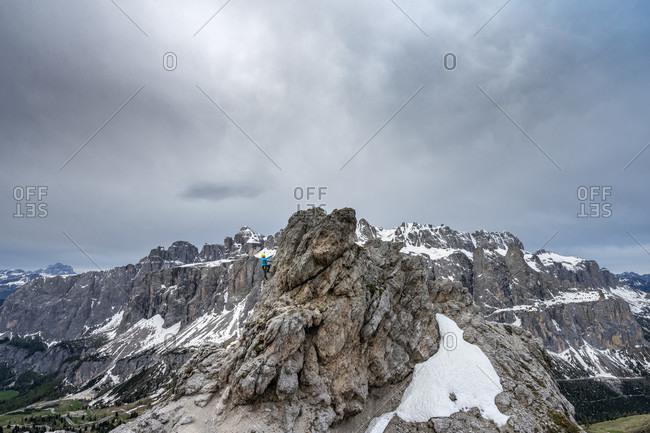 Gardena Pass, Bolzano Province, South Tyrol, Italy. On the way on the via ferrata to the Kleine Cirspitze