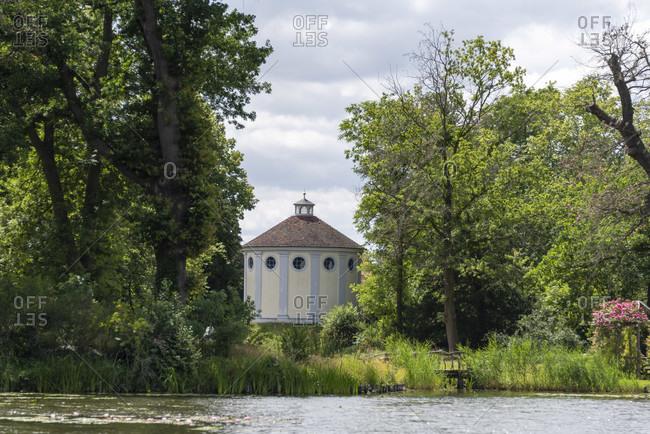 Germany, Saxony-Anhalt, Worlitz, view of the Worlitz Garden Realm with Synagogue, Unesco World Heritage.