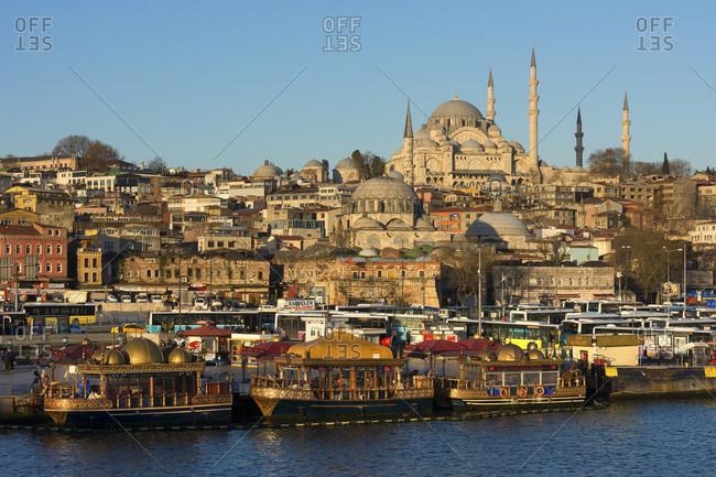 April 10, 2015: Turkey, Istanbul, Bosphorus, Karakoy, morning mood, view to the Suleyman mosque, jetty