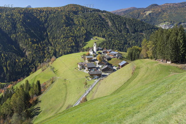 The village of Corte - Curt in the valley of Marebbe - Enneberg, Bolzano, Alto Adige, Sudtirol, Italy