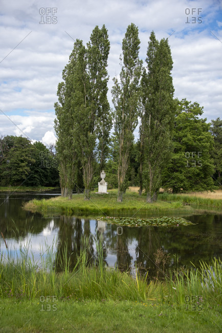 Germany, Saxony-Anhalt, Worlitz, group of trees in the Worlitz Garden Realm, Unesco World Heritage.