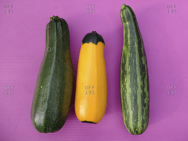 "Zucchini varieties - striped: ""Coucouzelle"", two-tone yellow-green: ""Zephyr"", speckled: ""Defender"""