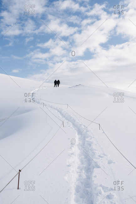 March 14, 2020: On the way through deep snow to the viewpoint of the Fjadrargljufur gorge, Iceland