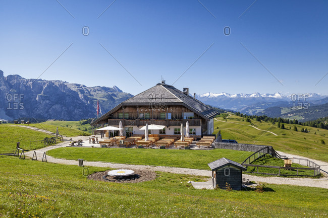June 21, 2020: Pralongia alpine hut in Alta Badia, Corvara, South Tyrol, Dolomites, Italy, Europe